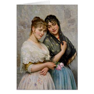 Cartão Mulheres Venetian CC0438 de Eugene von Blaas dois