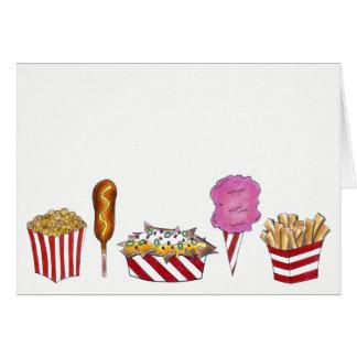 Cartão Nachos justos da pipoca de Corndog dos alimentos