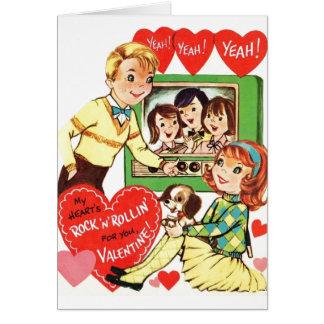 Cartão Namorados adolescentes do rock and roll do vintage
