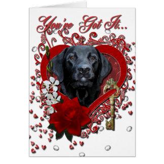 Cartão Namorados - chave a meu coração - Labrador - preto
