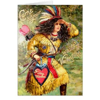 Cartão Namorados do nativo americano do vintage