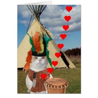 Cartão Namorados indianos do gatinho do nativo americano