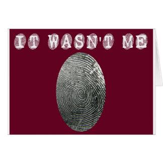 Cartão Não era mim no vermelho