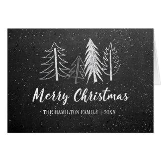 Cartão Não-Foto nevado das árvores do Natal do quadro