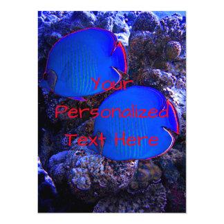 Cartão Natação submarina tropical dos peixes no coral