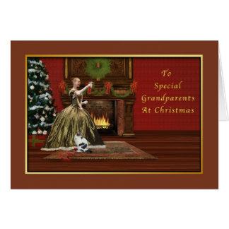 Cartão Natal, avós, antiquados
