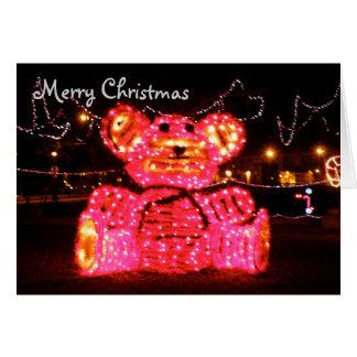 Cartão Natal cor-de-rosa do urso
