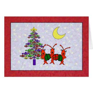 Cartão Natal da flor de lis dos lagostins de Caroling