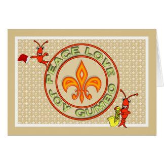 Cartão Natal de néon do Gumbo do amor da paz dos