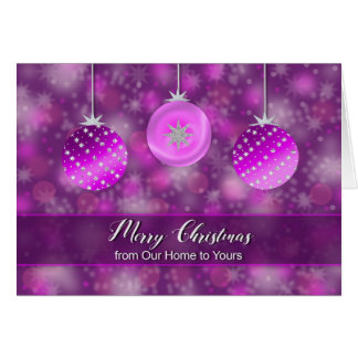Cartão Natal - de nossa casa a seu - decoração roxa