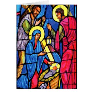 Cartão Natal do vitral do zumbido da natividade