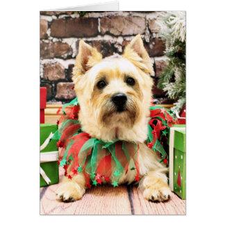 Cartão Natal - monte de pedras Terrier - Lola