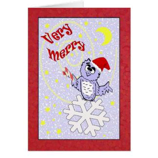 Cartão Natal muito alegre da coruja do papai noel