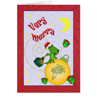Cartão Natal muito alegre da palmeira do jacaré do papai