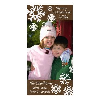 Cartão Natal múltiplo datado dos flocos de neve (Brown)
