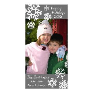 Cartão Natal múltiplo datado dos flocos de neve (cinzas)