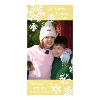 Cartão Natal múltiplo datado dos flocos de neve (ouro)