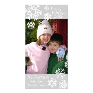 Cartão Natal múltiplo datado dos flocos de neve (prata)