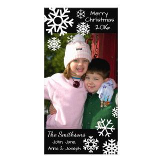 Cartão Natal múltiplo datado dos flocos de neve (preto)