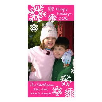 Cartão Natal múltiplo datado dos flocos de neve (rosa