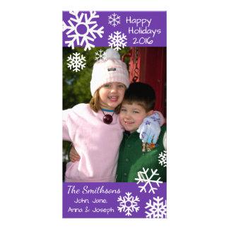Cartão Natal múltiplo datado dos flocos de neve (roxo)