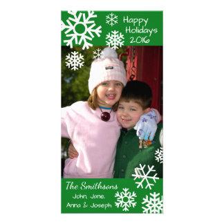 Cartão Natal múltiplo datado dos flocos de neve (verde)