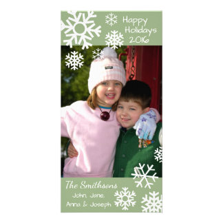 Cartão Natal múltiplo datado dos flocos de neve (verde