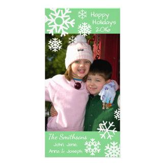 Cartão Natal múltiplo datado dos flocos de neve (verde da