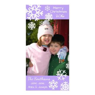 Cartão Natal múltiplo datado dos flocos de neve (violeta)