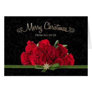 Cartão Natal - rosas vermelhas - dtodos nós - nevando -