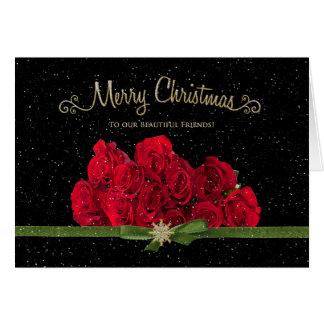 Cartão Natal - rosas vermelhas - nossos amigos - nevando