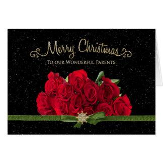 Cartão Natal - rosas vermelhas - nossos pais - nevando -