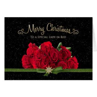 Cartão Natal - rosas vermelhas - senhora no vermelho -