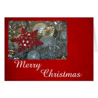 Cartão Natal vermelho e de prata