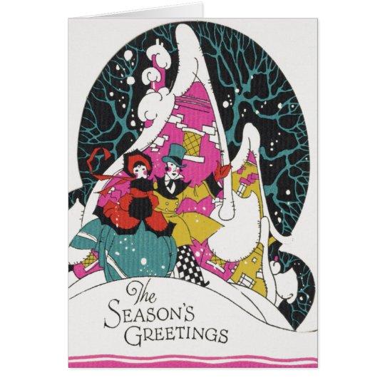 Cartão Natal vintage, pessoas de cidade extravagantes do