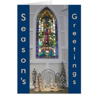 Cartão Natividade da janela & do Natal de vitral do