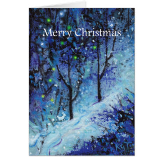 Cartão nevado da floresta do coelho de coelho do