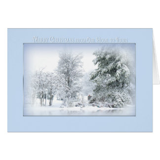 Cartão Neve sonhadora do Natal Cena-de nossa casa a seu