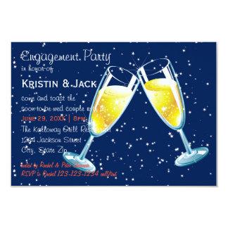 Cartão Noite dos vidros de Champagne - festa de noivado