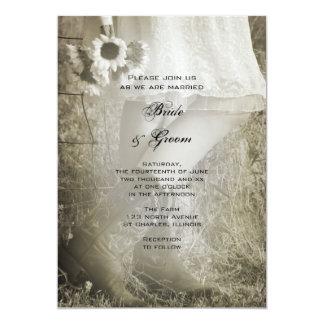 Cartão Noiva, botas de vaqueiro e casamento do país dos