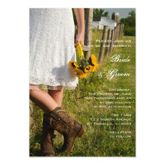 Cartão Noiva, botas de vaqueiro e casamento do rancho dos