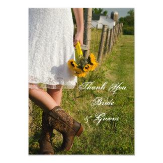 Cartão Noiva, botas de vaqueiro e obrigado dos girassóis