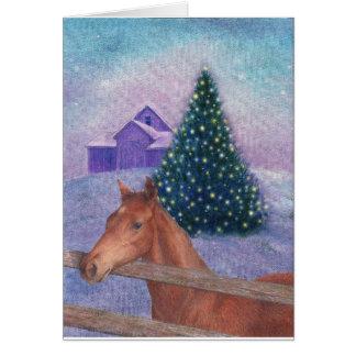Cartão Noturno ilustrado do inverno do cavalo