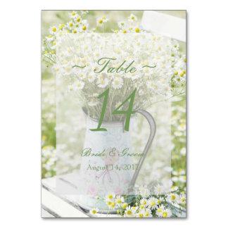 Cartão Número da mesa do casamento da camomila das