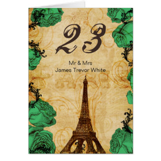 Cartão números da mesa de Paris da torre Eiffel do verde