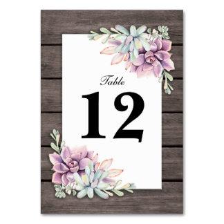 Cartão Números florais da mesa do casamento do Succulent