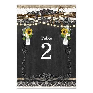 Cartão Números rústicos da mesa do país das ferraduras &