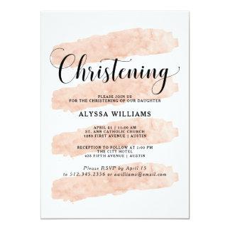 Cartão O abstrato cor-de-rosa listra o batismo da