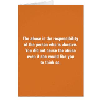 Cartão O abuso é a responsabilidade da pessoa…