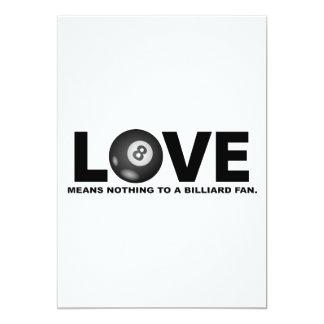 Cartão O amor não significa nada a um fã do bilhar